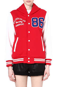 CHOCOOLATE I.T hooded varsity jacket