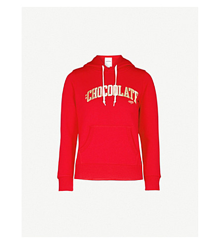 CHOCOOLATE College logo-print cotton-jersey hoody (Red