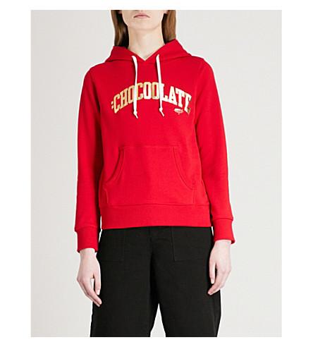 CHOCOOLATE College logo-print cotton-jersey hoody (Red