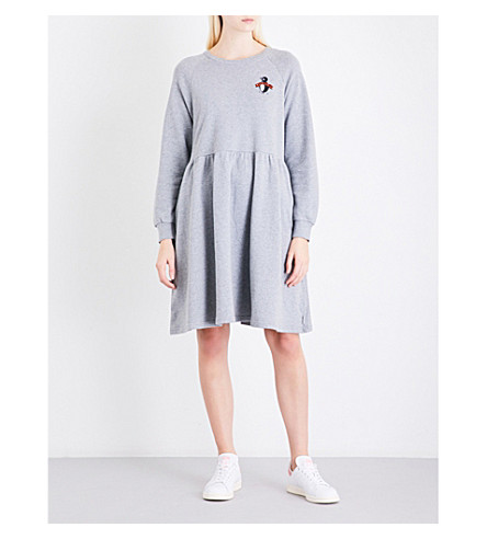 CHOCOOLATE Logo-embroidered cotton-jersey dress (Grey