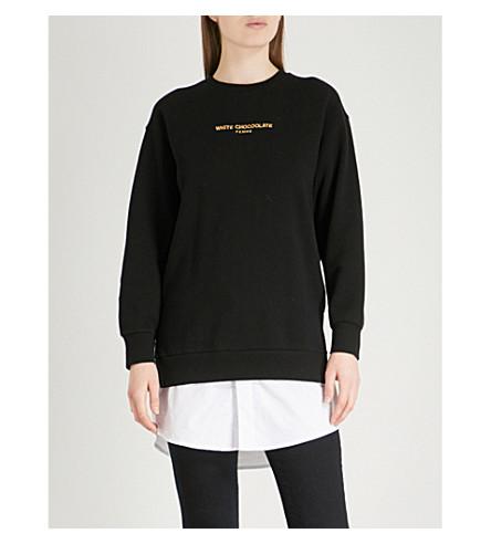CHOCOOLATE Slogan-embroidered cotton-jersey sweatshirt (Black