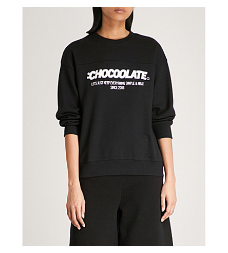 CHOCOOLATE Logo-print cotton-blend sweatshirt (Black