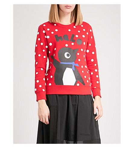 CHOCOOLATE Penguin-motif cotton-jersey sweatshirt (Red