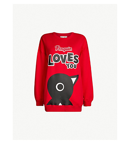 CHOCOOLATE Penguin oversized cotton-jersey sweatshirt (Red