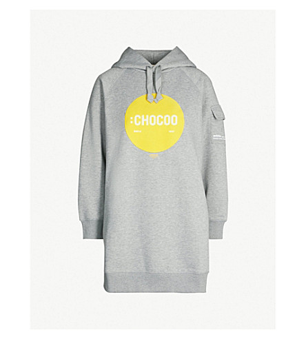 CHOCOOLATE :Chocoo-print cotton-blend hooded dress (Grey