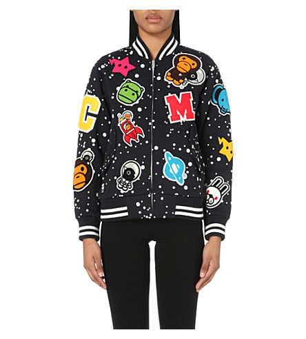 CHOCOOLATE Appliqué cotton-jersey varsity jacket (Navy