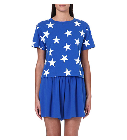 CHOCOOLATE I.T star-print cropped t-shirt (Royalblue