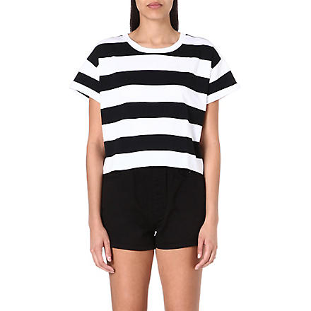 CHOCOOLATE I.T cropped striped t-shirt (Black