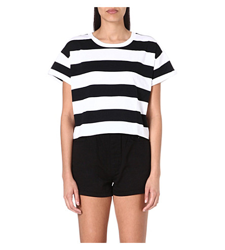 CHOCOOLATE I.T cropped striped t-shirt (Black