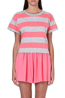 CHOCOOLATE I.T. striped crop t-shirt