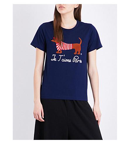 CHOCOOLATE Doggie cotton T-shirt (Navy