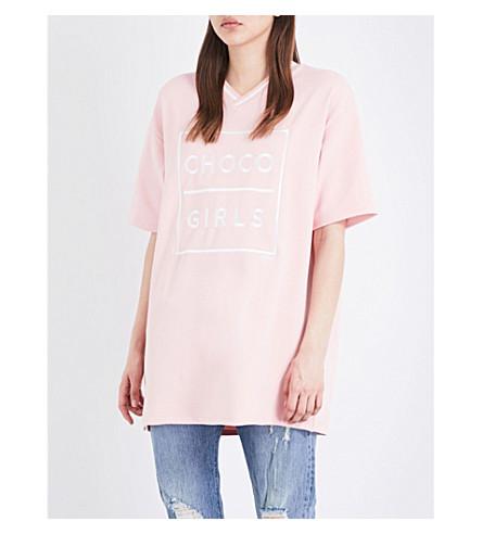 CHOCOOLATE Choco girls-print piqué tunic (Pink