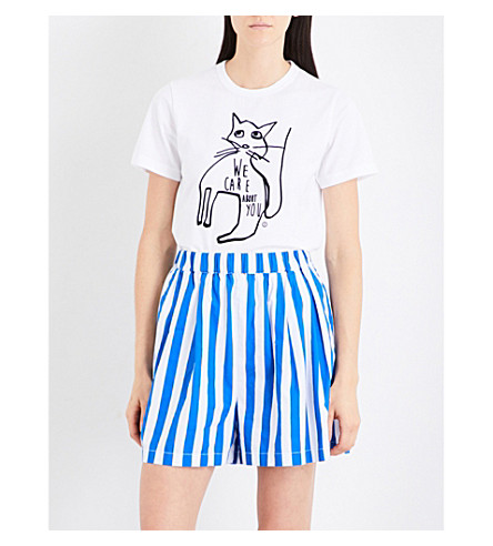 CHOCOOLATE Cat-print cotton T-shirt (Whx