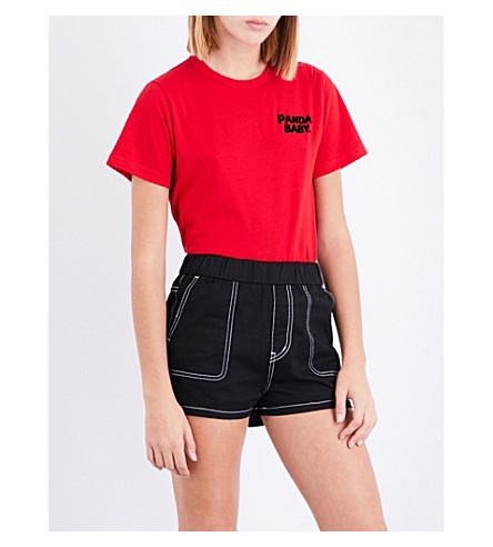 CHOCOOLATE Panda-print cotton-jersey T-shirt (Red