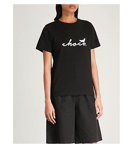 CHOCOOLATE Logo-print cotton-jersey T-shirt (Black