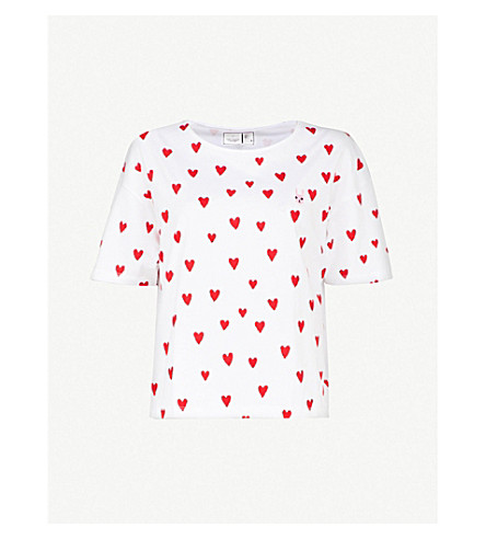 CHOCOOLATE Heart-print cotton-jersey T-shirt (White