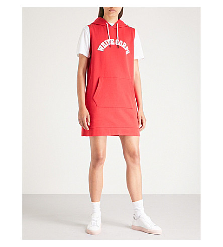 CHOCOOLATE Slogan-print hooded cotton-blend dress (Red