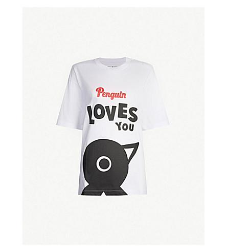 CHOCOOLATE Penguin oversized cotton-jersey T-shirt (White