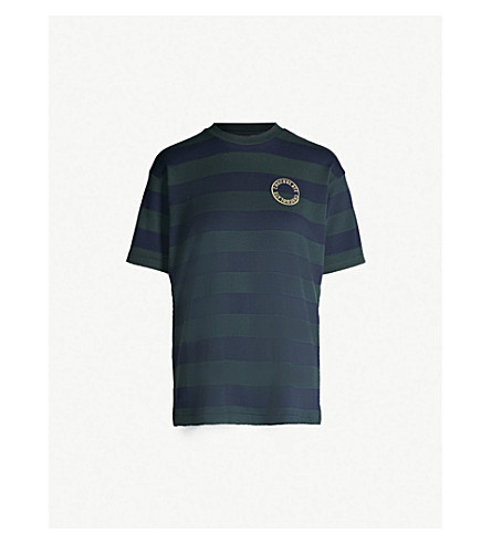 CHOCOOLATE Striped logo-embroidered cotton-jersey T-shirt (Multi