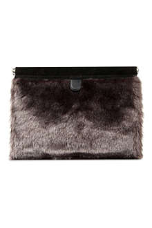 B+AB I.T faux-fur clutch