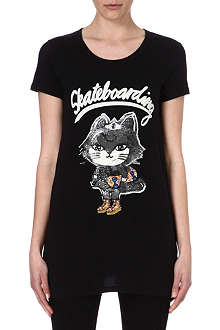 B+AB I.T cotton skateboard kitty t-shirt