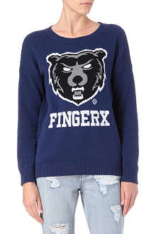 FINGERCROXX I.T Animal logo jumper