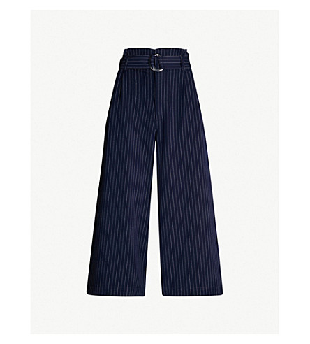 5CM Belted high-rise striped crepe wide-leg trousers (Navy