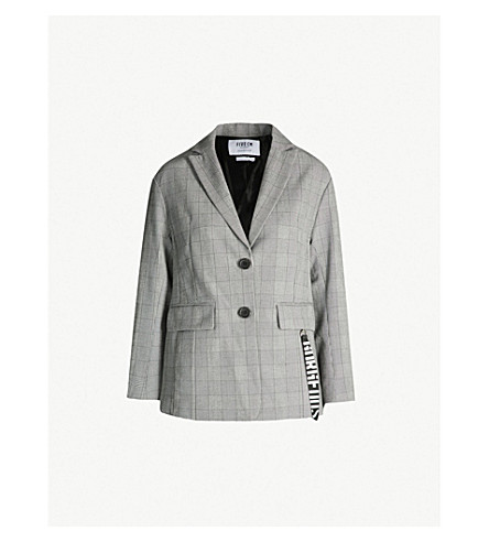 5CM Houndstooth checked woven jacket (Grey