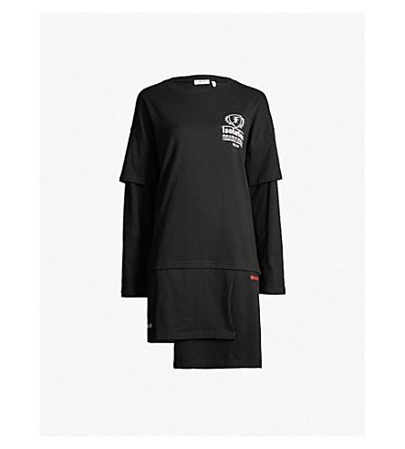 5CM Layered logo-print cotton-jersey dress (Black