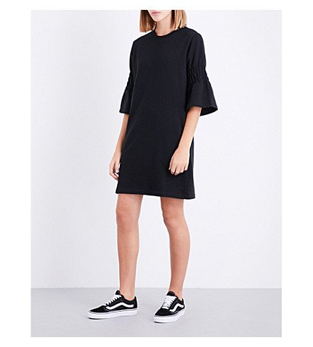 IZZUE Flared-cuff cotton-blend dress (Black