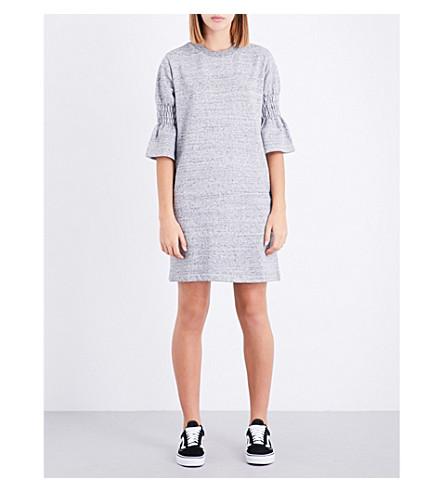 IZZUE Flared-cuff cotton-blend dress (Grey