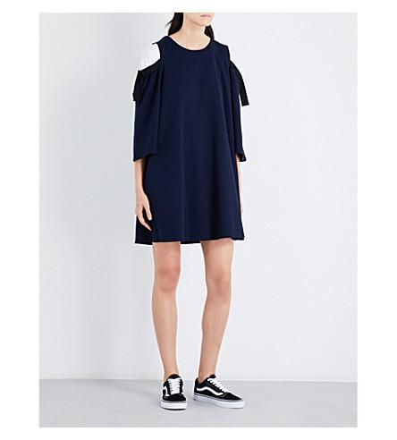 IZZUE Cold-shoulder stretch-cotton dress (Navy