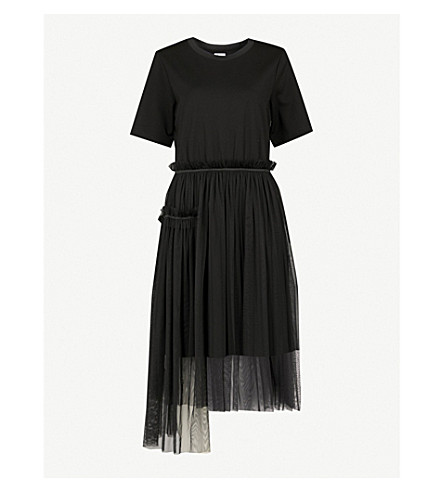 IZZUE Gathered jersey and tulle dress (Black