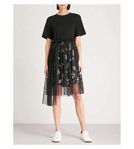 IZZUE Mesh-overlay jersey dress (Black