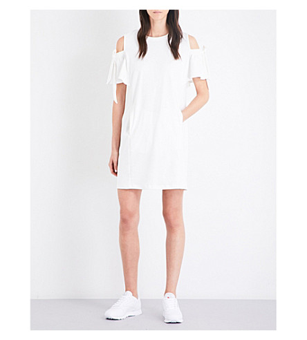 IZZUE Cold-shoulder cotton-jersey dress (Cream