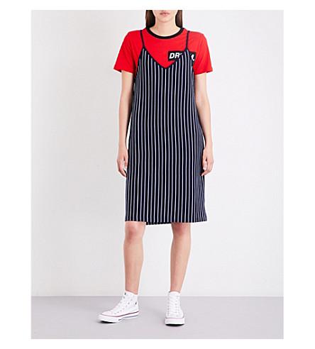 IZZUE Striped cotton-jersey slip dress (Red
