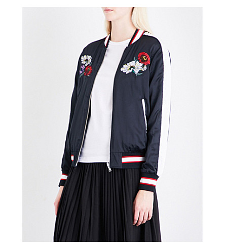 IZZUE Reversible embroidered satin bomber jacket (Black