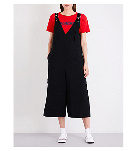 IZZUE Wide-leg twill dungarees (Black