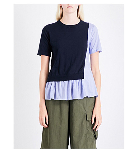 IZZUE Contrast-panel knitted and poplin cotton top (Nyd