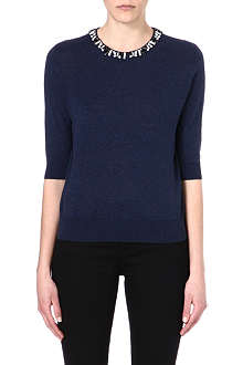 IZZUE I.T Embellished-collar cotton top