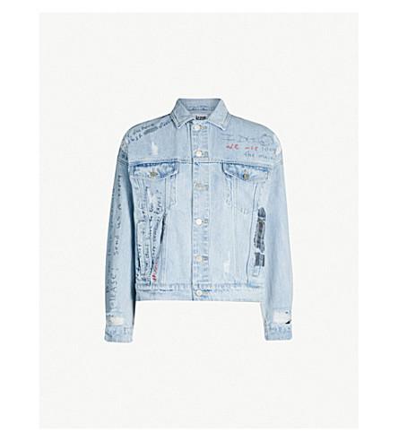 IZZUE Ripped text-print denim jacket (Blue