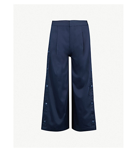 IZZUE Side-slit wide-leg stretch-cotton trousers (Navy