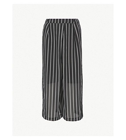 IZZUE Striped chiffon trousers (Black
