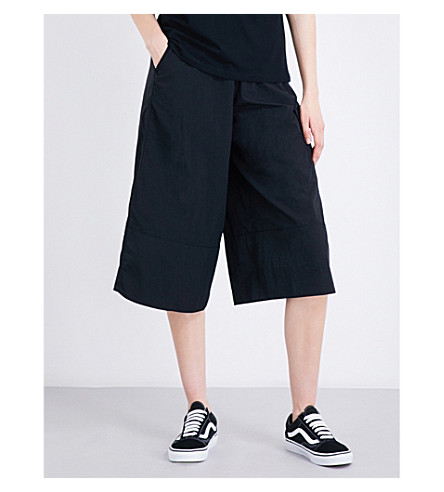 IZZUE High-rise wide-leg shell culottes (Black