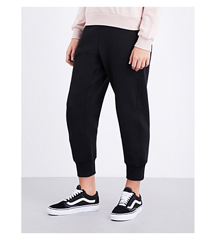 IZZUE Tapered mid-rise cotton-blend jogging bottom (Black