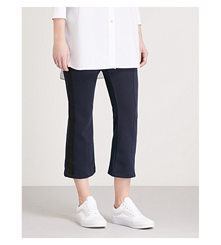 IZZUE Striped-panel cropped woven trousers (Navy