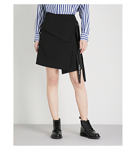 IZZUE Self-tie woven wrap skirt (Black