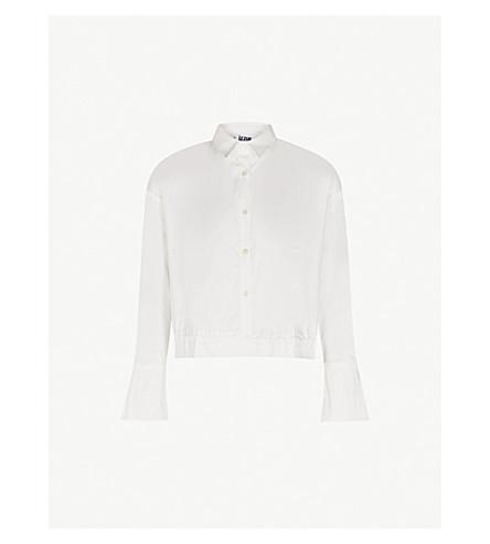 IZZUE Drawstring-waist cotton-blend shirt (White