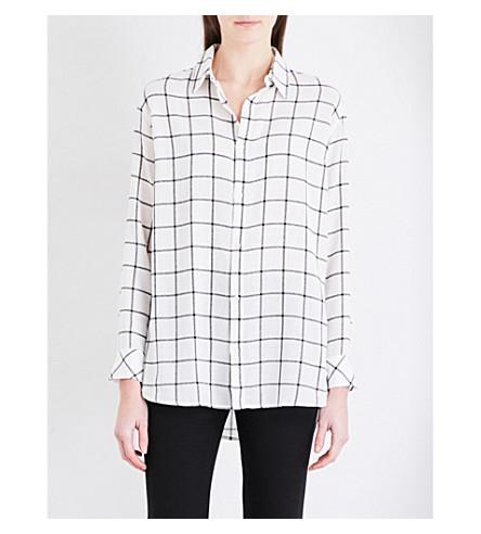 IZZUE Check-print woven shirt (White
