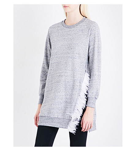IZZUE Feather-trim cotton-blend tunic (Grey